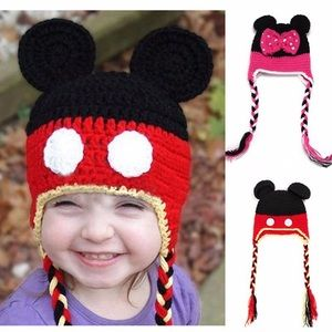 Mickey & Minnie Mouse Crochet Hats w/ Braided Ties